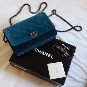 Chanel velvet quilted boy wallet